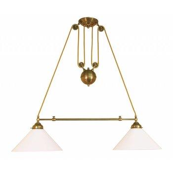 Lampe en laiton antique avec contrepoids
