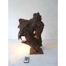 Tischleuchte Holz Skulptur Höhe ca. 45 cm