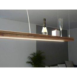 Hängelampe Holz Eiche geölt mit Ober und Unterlicht ~ 160 cm