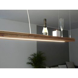 Hanging lamp wooden oak oiled with upper and lower light incl. Duo Remote Control ~ 80 cm