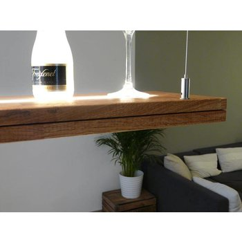 Hanging lamp wooden oak oiled with upper and lower light incl. Remote control ~ 120 cm