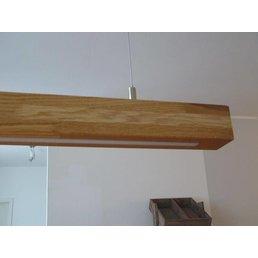 XXL hanging lamp light oak, oiled, warm white LEDs ~ 180 cm