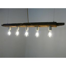lampe LED lampe suspendue barre en bois antique ~ 110 cm