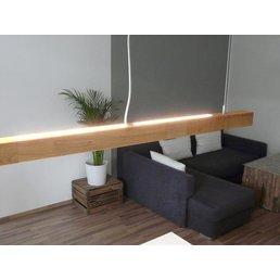 bois lampe suspension chêne huilé 120 cm avec variateur