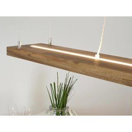 Hängelampe Holz Akazie mit Ober und Unterlicht, inkl. Einzelfernbedienung ~ 80 cm