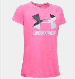 Under Armour Girls' UA Solid Big Logo Short Sleeve T-Shirt
