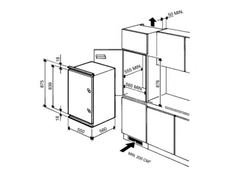Smeg FL167A koelkast nis 88 met vriesvak
