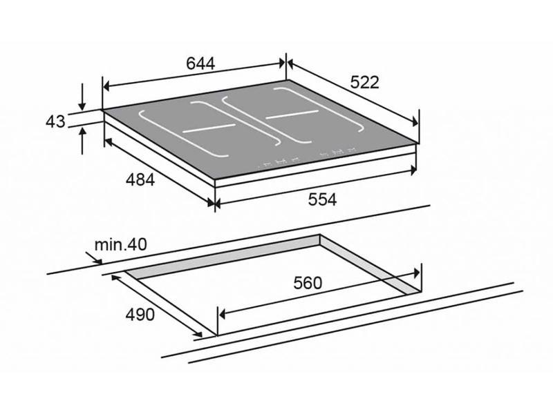 Atag HI6271MV inductiekookplaat 64cm, 4 vario zones, TouchControl