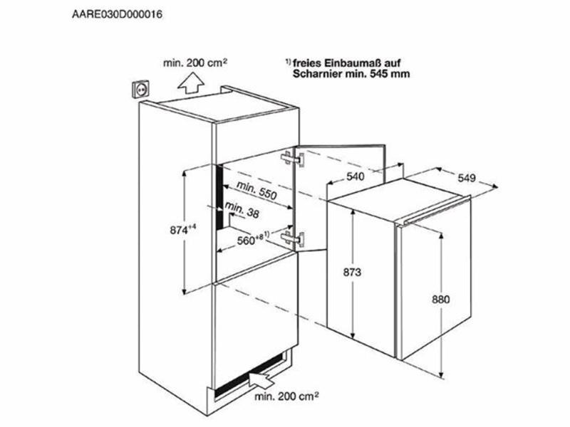 AEG SFB58821AS inbouw-koelkast met vriesvak 88cm