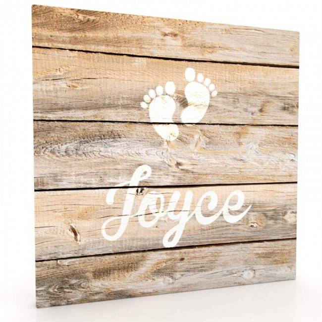 Muurdecoratie hout-look - Baby voetjes