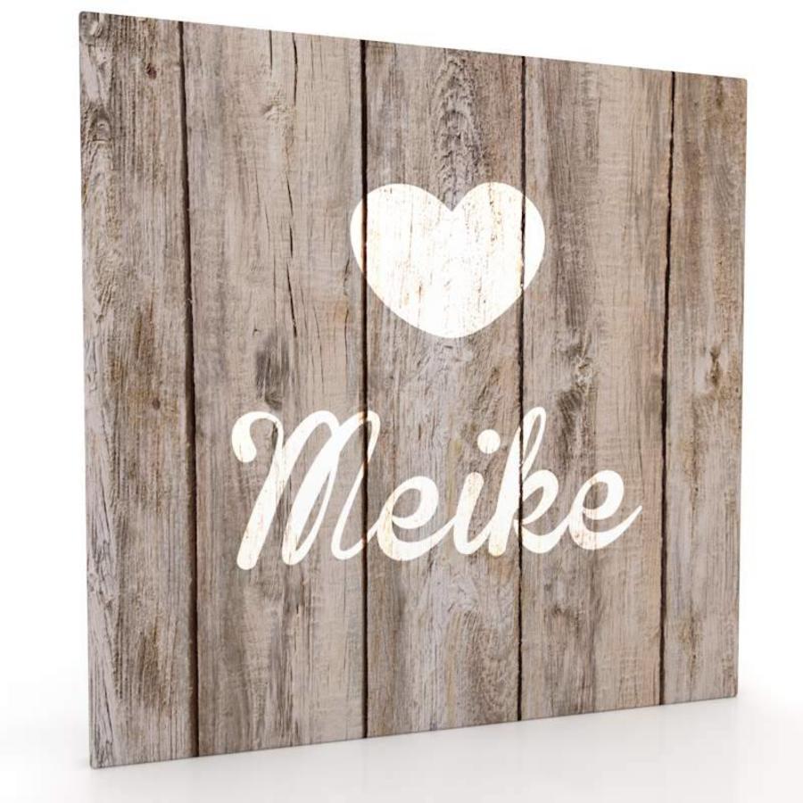 canvas muurdecoratie met hout look lief hartje