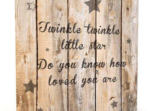 Muurdecoratie hout-look - Twinkle Little Star
