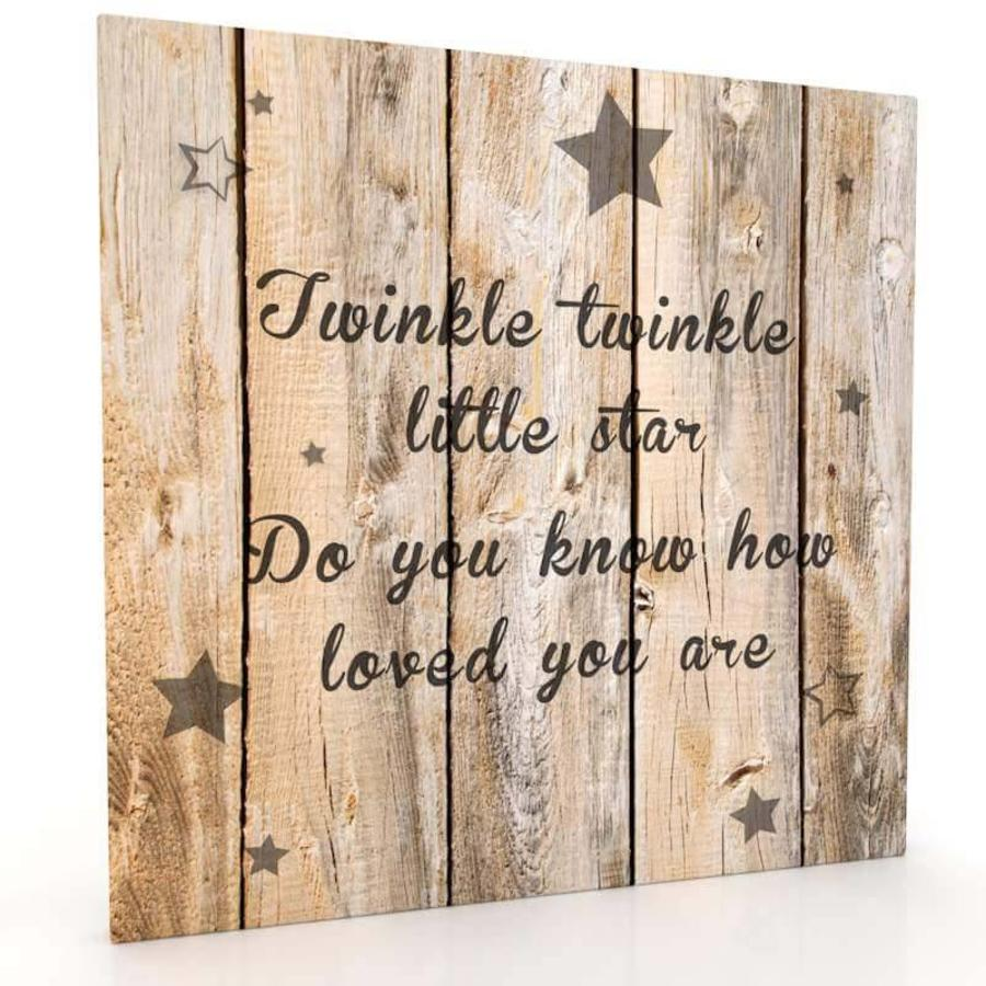 Canvas muurdecoratie hout look twinkle twinkle little for Muurdecoratie hout