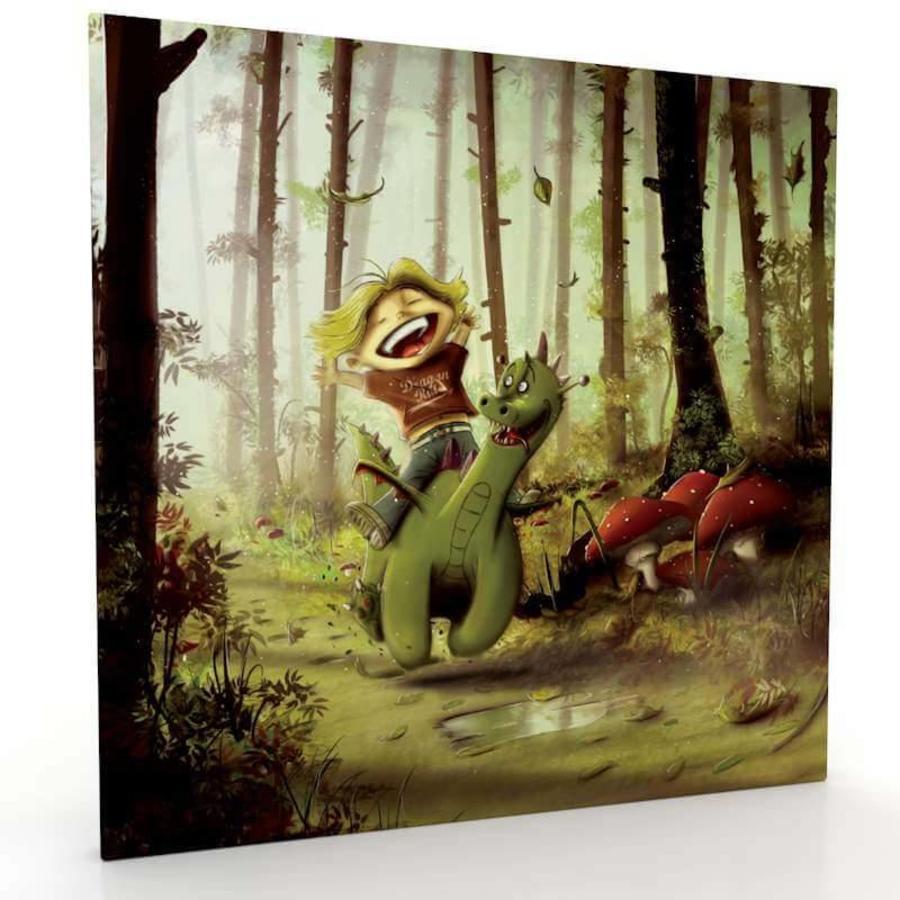 kinderschilderij draakje en zijn vriendje