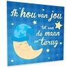 Muurdecoratie: Maan met blauwe muts