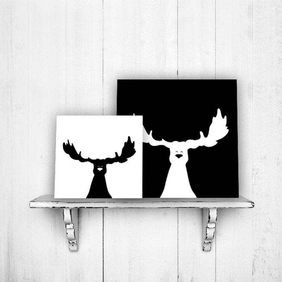 Muurdecoratie zwart wit eland for Muurdecoratie babykamer