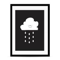 thumb-Poster kinderkamer: Lief regenwolkje zwart-2