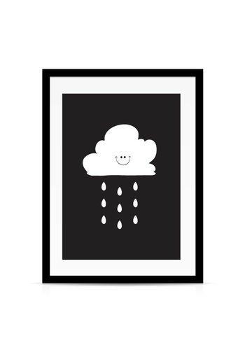 Lievespulletjes Poster kinderkamer: Lief regenwolkje zwart