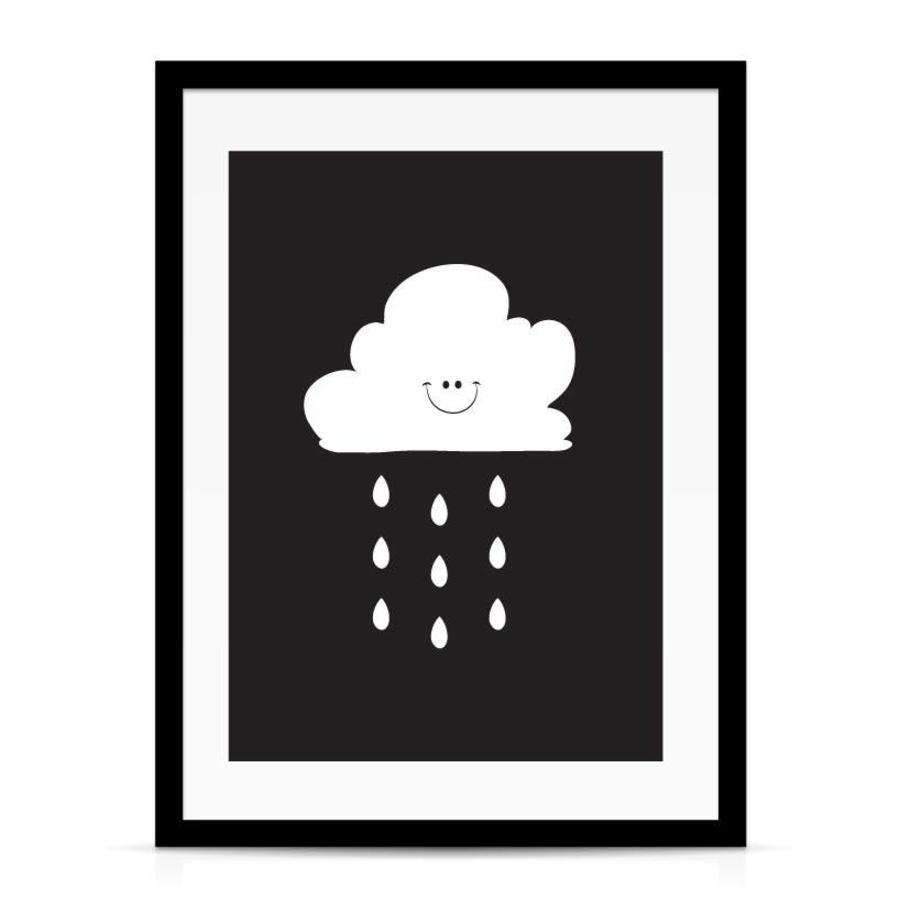 Poster kinderkamer: Lief regenwolkje zwart-2