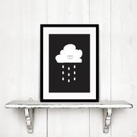 thumb-Poster kinderkamer: Lief regenwolkje zwart-3