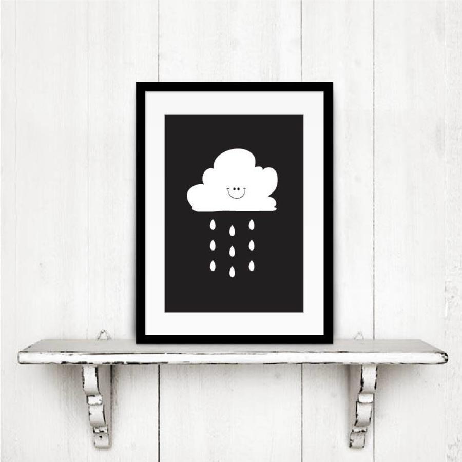 Poster kinderkamer: Lief regenwolkje zwart-3