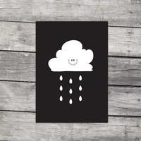 thumb-Poster kinderkamer: Lief regenwolkje zwart-4