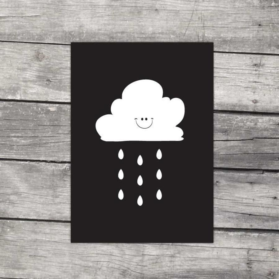 Poster kinderkamer: Lief regenwolkje zwart