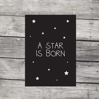 Poster kinderkamer: A star is born - zwart