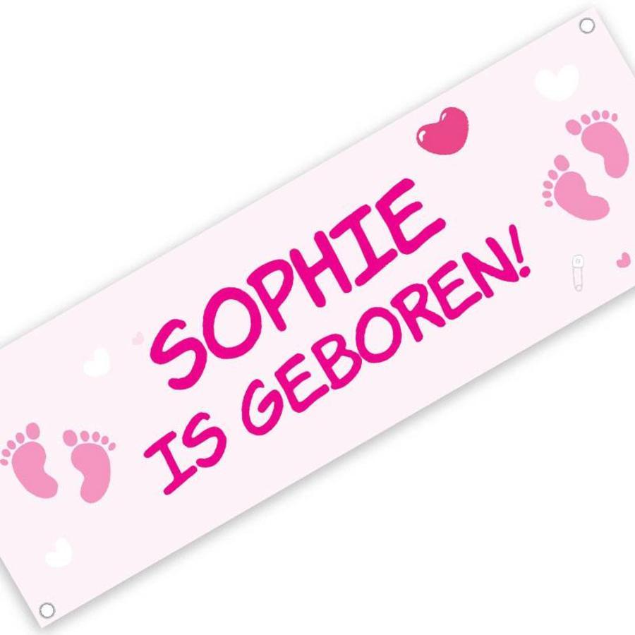 Geboortespandoek met naam en lieve babyvoetjes - roze