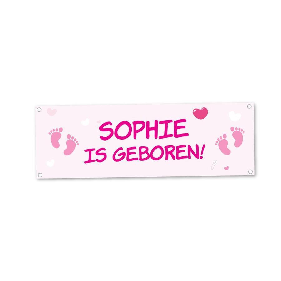Geboortespandoek met naam en lieve babyvoetjes - roze-2