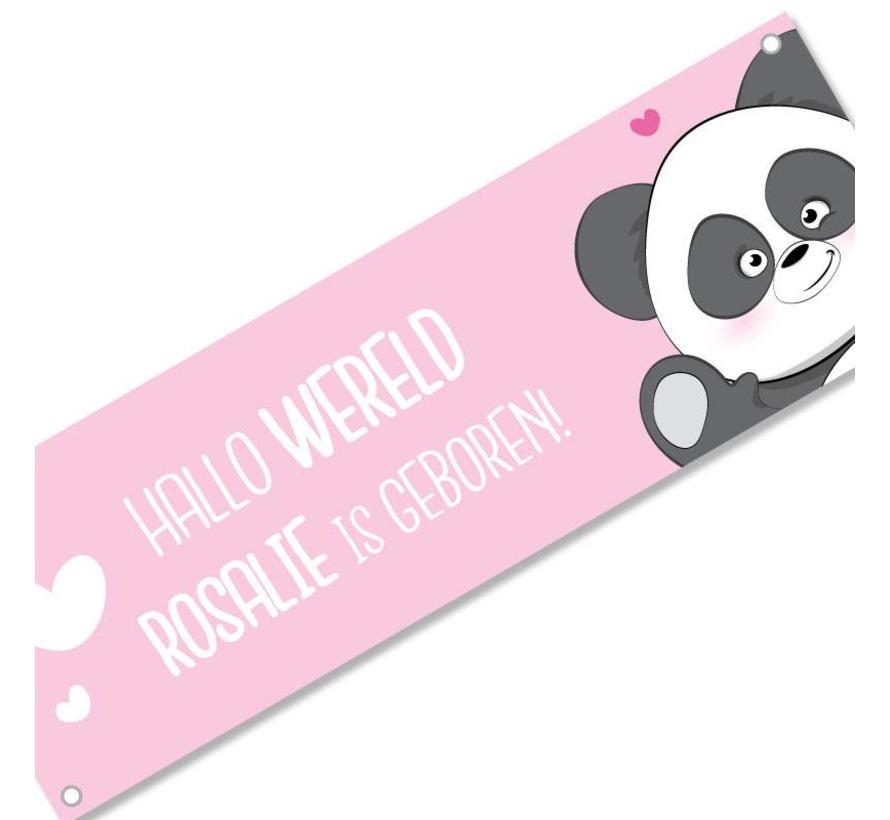 Geboortespandoek lieve panda met naam roze