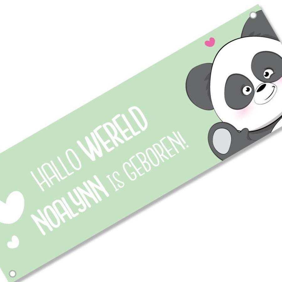 Geboortespandoek lieve panda met naam mint-1