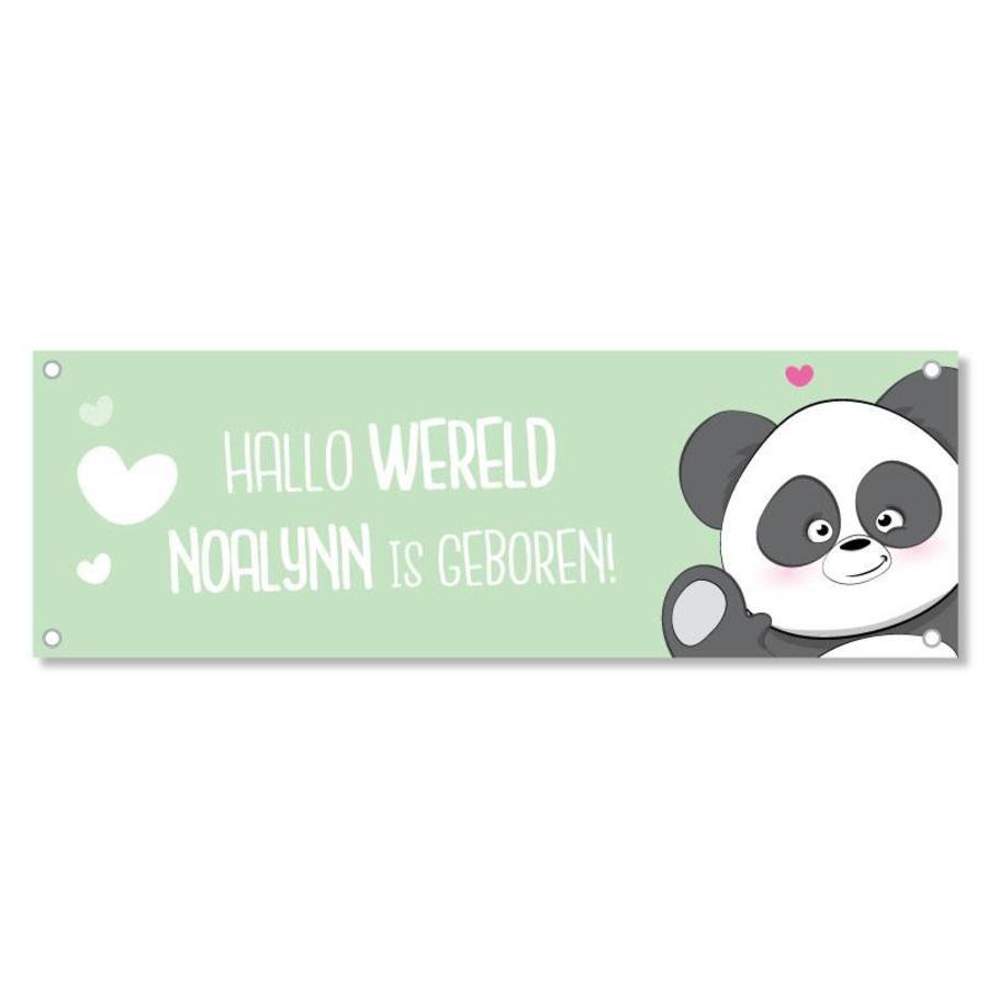 Geboortespandoek lieve panda met naam mint-2