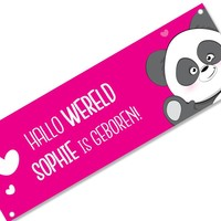 Geboortespandoek lieve panda met naam fuchsia
