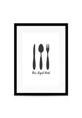 Lievespulletjes Keuken poster Mes Lepel Vork