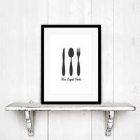 Keuken poster Mes Lepel Vork
