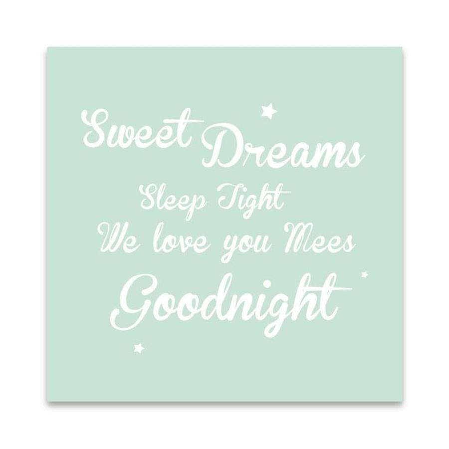 Muurdecoratie: Sweet Dreams mint met naam-1