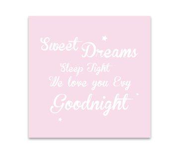 Lievespulletjes Muurdecoratie: Sweet Dreams roze met naam