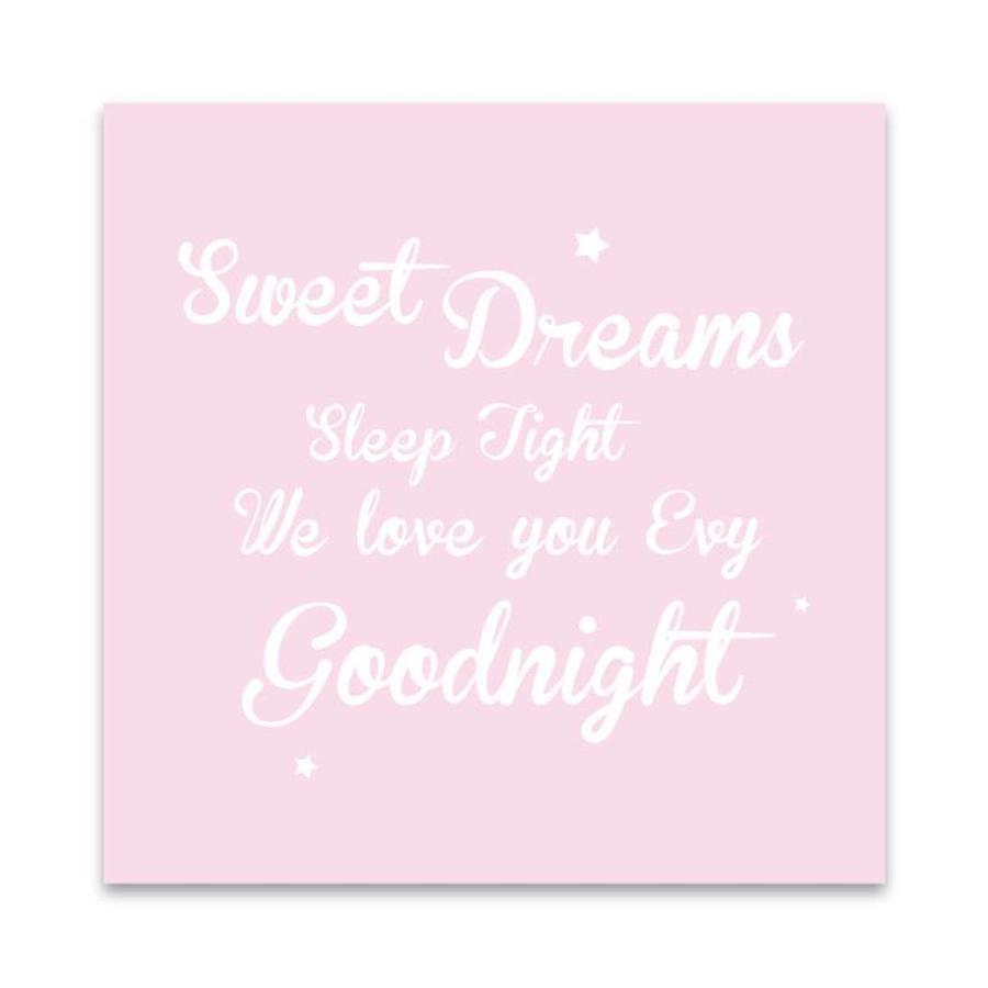 Muurdecoratie: Sweet Dreams roze met naam