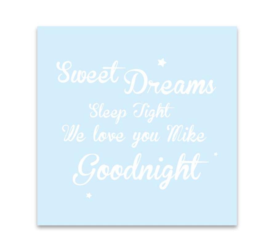 Muurdecoratie: Sweet Dreams blauw met naam