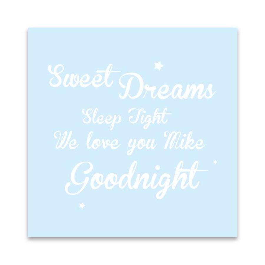 Muurdecoratie: Sweet Dreams blauw met naam-1
