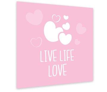 Lievespulletjes Muurdecoratie: Live Life Love Roze