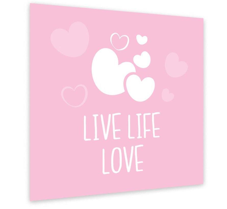 Muurdecoratie: Live Life Love Roze