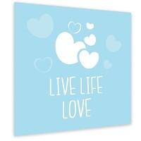 Muurdecoratie: Live Life Love Blauw