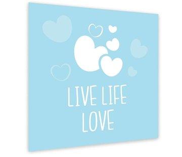 Lievespulletjes Muurdecoratie: Live Life Love Blauw