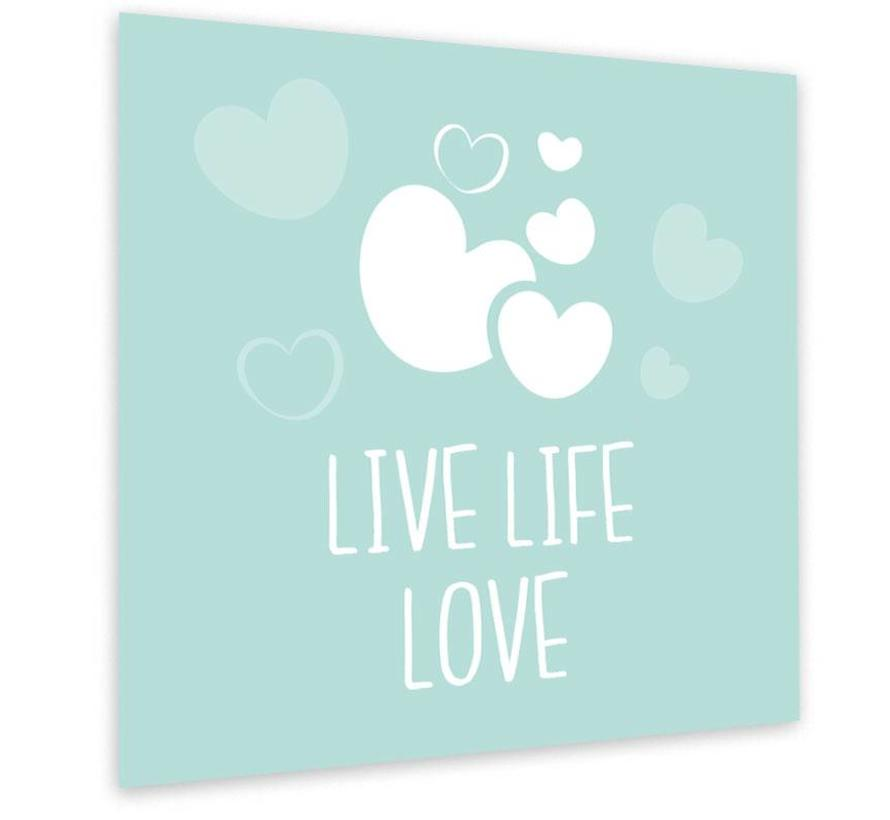 Muurdecoratie: Live Life Love Mint
