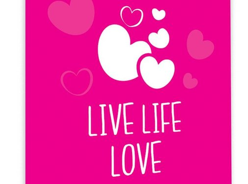 Lievespulletjes Muurdecoratie: Live Life Love Fuchsia