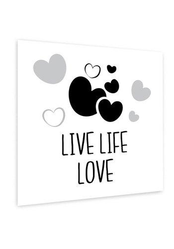Muurdecoratie: Live Life Love zwart wit