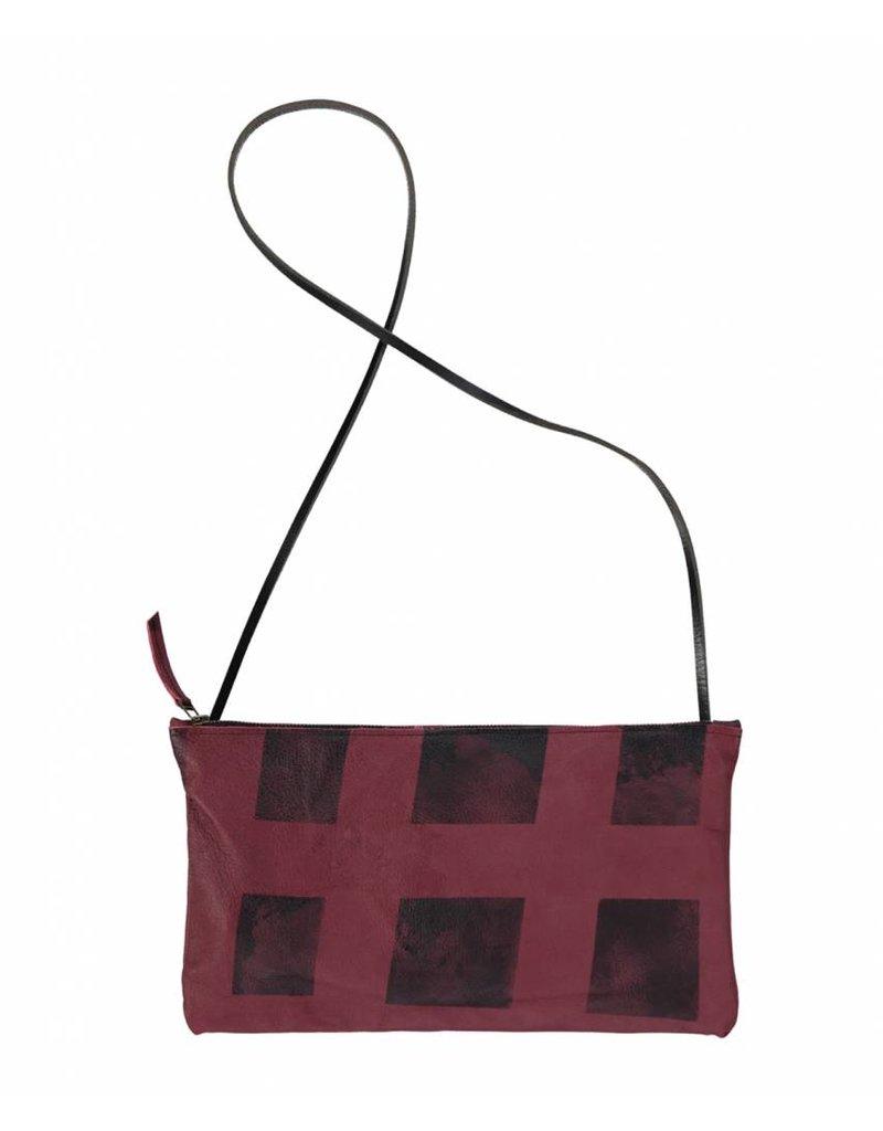 Tesj Handtas rood zwart geblokt