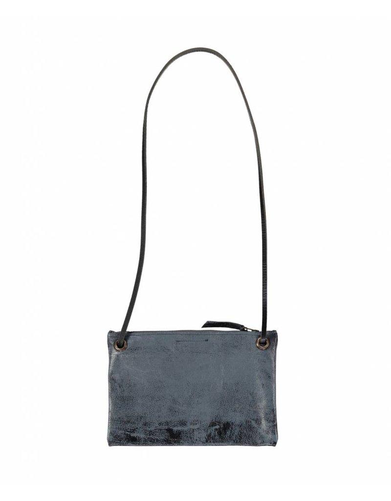 Tesj Handtasje zwart grijs wolk print